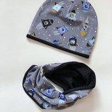 Детский трикотажный набор шапка хомут шапки в наличии