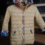 Куртка пальто 34 размер, 5-7 лет, цветы, яркое, плащ