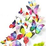 Бабочки для декора объемные 3D эффект, 3Д бабочки разноцветные Радуга, на стену, на обои