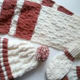 комплект шапка шарф варежки ручная работа
