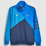 Синяя толстовка с темно-синей вставкой и молнией до середины груди adidas Messi