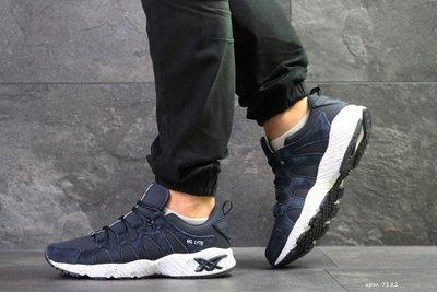 Asics кроссовки мужские демисезонные темно синие с белым 7182