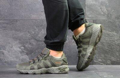 Asics кроссовки мужские демисезонные темно зеленые 7186