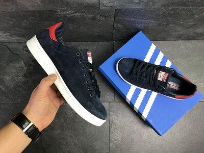 Мужские кроссовки Adidas Stan Smith синий замш