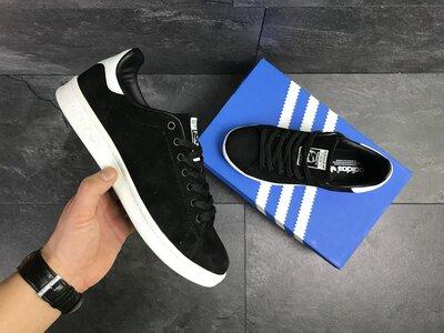 Мужские кроссовки Adidas Stan Smith черные замш