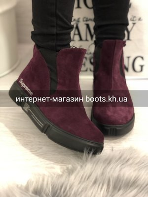 Весна 2019.Женские замшевые демисезонные ботинки челси в стиле Supreme слива/марсала