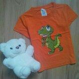 Яркая коттоновая футболка с крокодильчиком на 2 - 3 года.