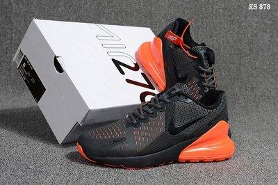 Как Оригинал. Бесплатная доставка. Кроссовки Nike Air Max Flair 270 серо-оранжевые KS 878
