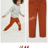 Кирпичные брюки штаны штани джинсы хлопок бавовна 140см от h&m