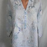 Блуза рубашка лен с нежным принтом 16p