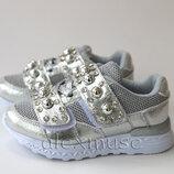 Нарядные кроссовки для девочки, серебряные со стразами
