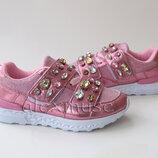 Нарядные кроссовки для девочки, розовые со стразами