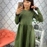 4 цвета элегантное замшевое платье с кружевом с-м