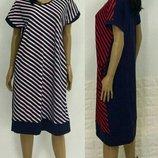 Платье женское летнее в полоску, вискоза, батал, большие размеры, р.50-52-54-56-58-60