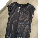 Платье платице сукня вечернее сарафан праздничное размер 36 с черное красивое в пайетки Reserved