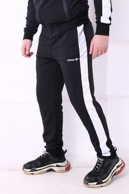 Спортивные штаны Adidas черные с белым лампасом
