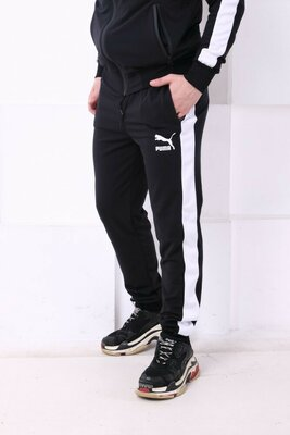 Спортивные штаны PUMA черные с белым лампасом