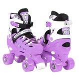 Раздвижные ролики квады Scale Sports фиолетовый цвет 29-33, 34-38