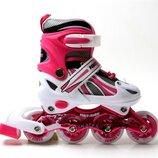 Ролики Power Champs. Pink. р.29-33,34-37