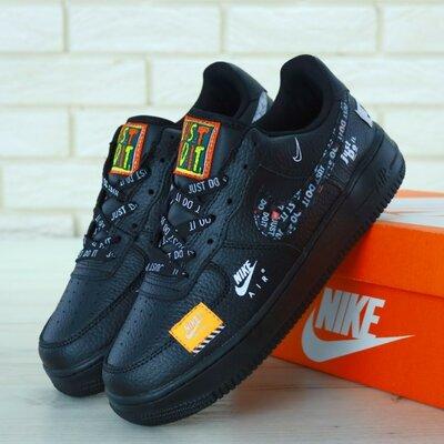 Мужские кроссовки Nike Air Force 1 Low Just Do It Black черные