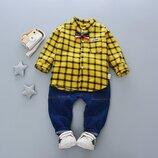 Праздничный костюм для мальчика с бабочкой, жёлтый, на годик, на два, три и четыре годика. Хит