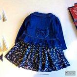 Модное платье и пиджак для девочки на день рождения или на праздник, комплект Цвет синий.