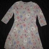 8-10 лет, нежное хлопковое платье с цветочками, трикотаж, от George