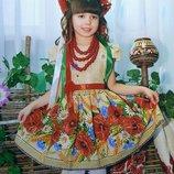 Платье вышиванка девочке в украинском стиле маки