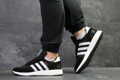 Adidas Iniki кроссовки демисезонные мужские черные с белым 7204