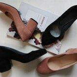 Новинка Шикарные замшевые черные туфли на устойчивом каблуке 36-40