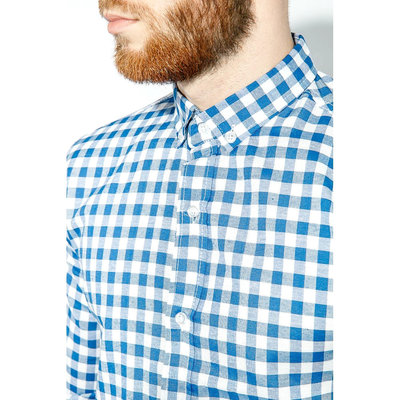 Рубашка мужская от Culture . Размер хл. Благородная голубая клетка. Состав ткани 100 % хлопок. Заме