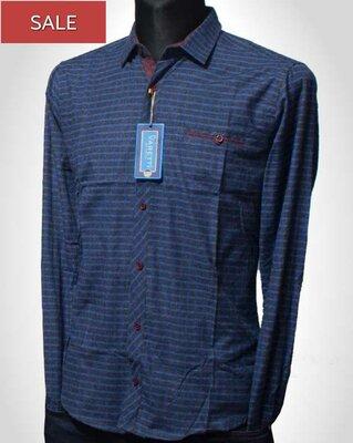 Продано: Varetti, турецька чоловіча сорочка синього кольору в клітку по розпродажі, осіння