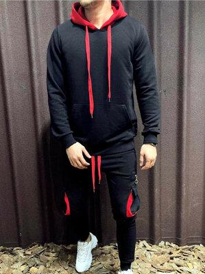 Стильный мужской спортивный костюм двухнить 1182 Капюшон Карманы Контраст .