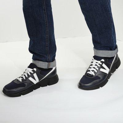 Мужские кожаные кроссовки синего цвета.Качество люка