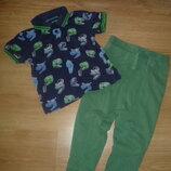 Фирменные спортиние штанишки с матней футболочка для модника