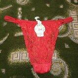 Женские трусики красные стринги кружевные