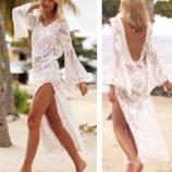 Эффектное длинное кружевное пляжное платье