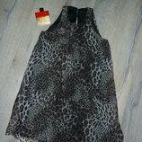S/М Zara .оригинал леопардовое нарядное платье, натуральный воздушный шелк