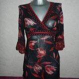 36/XS Principles Petite бордовая пляжная туника платье парео,натуральный шелк,новая