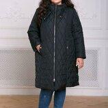 Пальто из стеганой ткани Мейли черное 54-60 Пальто прямого силуэта застегивается на змейку . Допол