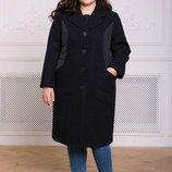 Комбинированное пальто Деми с черное 54-60 Стильное комбинированное пальто - спереди буклированно