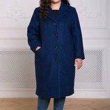Прямое пальто из букле Деми Р-Ры 54-60 Прямое классическое пальто с отложным английским воротник