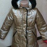 теплое золотое пальто by very 5-6 лет