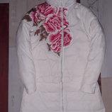 Шикарная белая куртка-трансформер на пуху с вышивкой размер XS-S