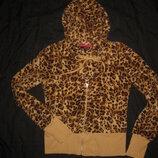 размер М, меховая пушистая махровая кофта на молнии, леопардовая