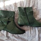 Ботинки кожа демисезонные,39 размер, 25,5 см по стельке, зеленые