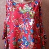 Блузка цветочный принт открытая рука,завязки размеры 20 Marks&Spencer