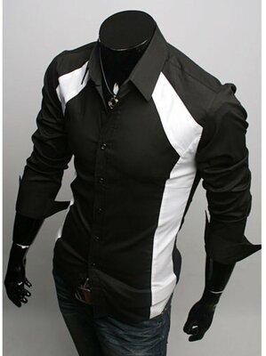 Классическая мужская рубашка черная белая с отложным воротником