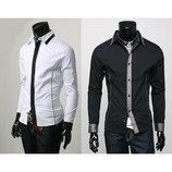 Классическая мужская рубашка черная белая