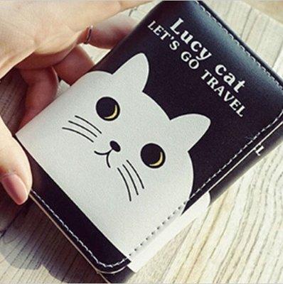 6d5fc1e2ae73 zheFanku новый прикольный короткий черный кошелек с котом котиком, 2  отделения для купюр